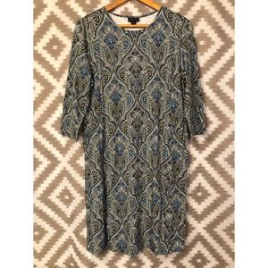 J. Jill Wearever Patterned Scoop Neck Dress